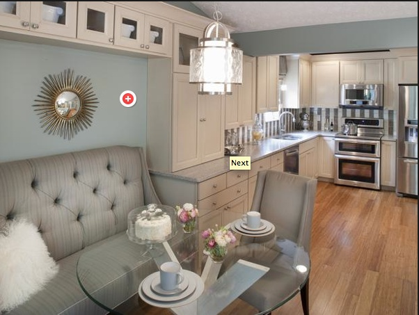 Love this blue, gray, and eggshell kitchen courtesy of Property Brothers on HGTV