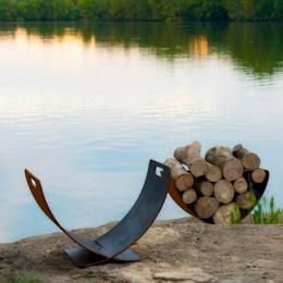 Wings of Flight Firewood Rack by Firepit Art