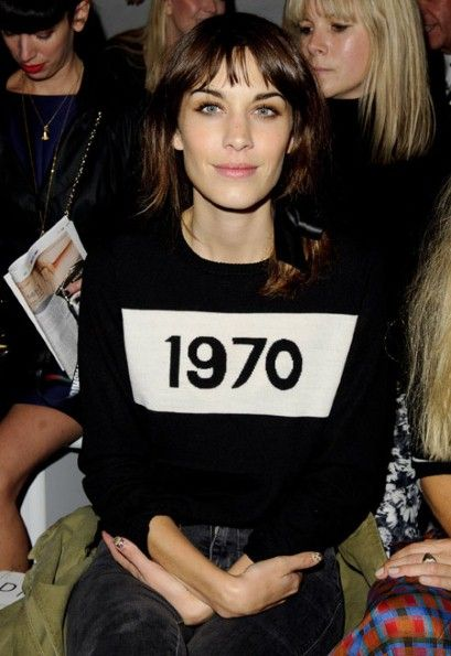 Alexa Chung wearing Bella Freud jumper at London Fashion Week