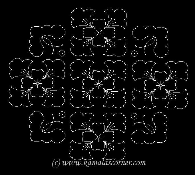 18 - 6 parallel dots (Neer Pulli) Kolam.   Put 18 parallel dots 6 lines.  Leave 2 dots at both ends and put 4 lines.  Then leave 4 dots at ...