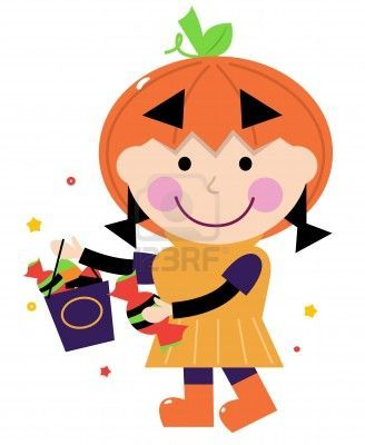 Cute little halloween Kid. Vector cartoon Illustration