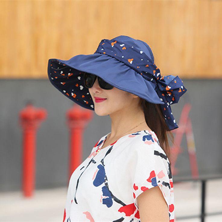 Women Ladies Summer Outdoor Beach Sun Protective Hat Driving Anti-UV Wide Brim Visor Caps at Banggood