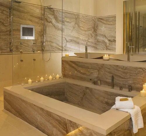 Pin 10: This bathroom made by travertine gives a luxury and classic look. The advantage to use travertine it's hardens with age and exposure.