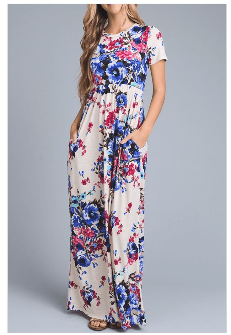 Stunning light blue, dark blue, light pink, dark pink, brown, and navy blue floral blossom print decorates a woven fabric as it sweeps to arounded scoop neckline and cap sleeves. An elastic waist flows to a full maxi skirt. Side pockets is the finishing touch to this dress! From cheerful A-line styles, to stunning maxi dresses, to elegant wrap dresses, and strapless minis and more, floral prints are a fashion forward choice for any occasion!  #floraldress www.ledyzfashions.com