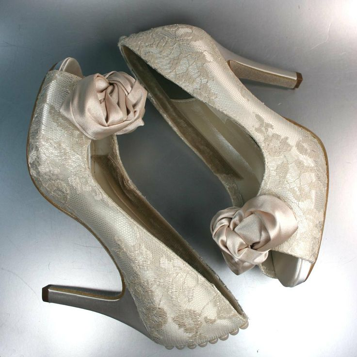 Wedding Shoes - Ivory Wedding Shoes Peep Toes with Lace Overlay, Blush Bow and Pearl Details