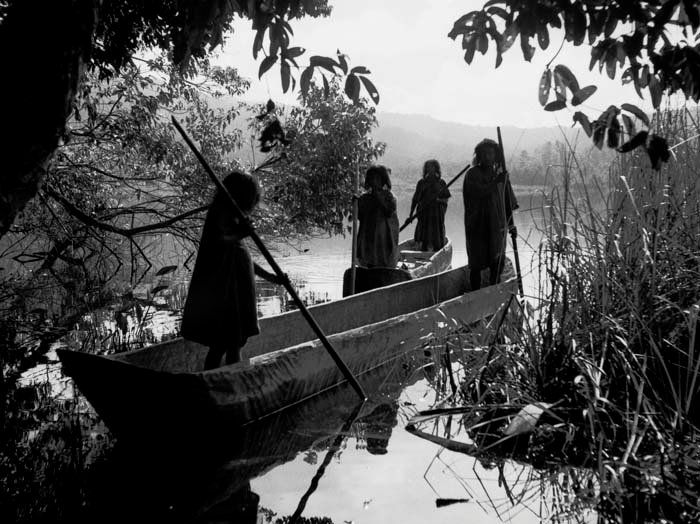 Lacandon men in dugout canoes - circa 1933