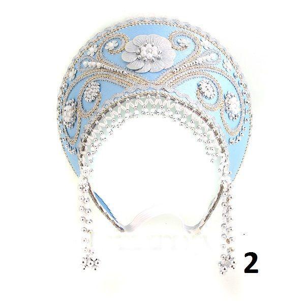 Russian headdress kokoshnik Russian nacional in costume color of white  and blue
