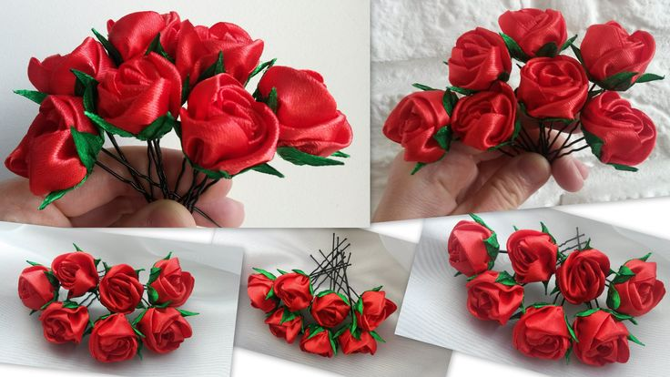 hairpins with flowers, Ribbon Flower