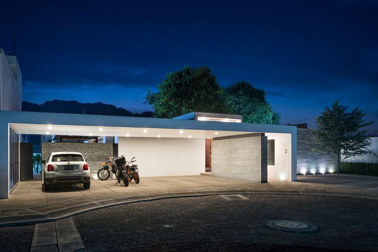Casa Nochebuena | Dionne Arquitectos | #photography #house #architecture #garden #outdoor #design #facade #sunset #garage
