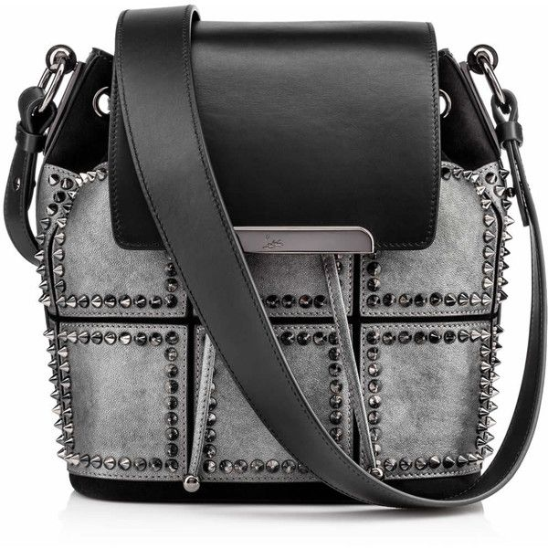 Christian Louboutin Lucky L Bucket (3,760 BAM) ❤ liked on Polyvore featuring bags, handbags, shoulder bags, genuine leather backpack, square backpack, leather handbags, print backpacks und square leather backpack