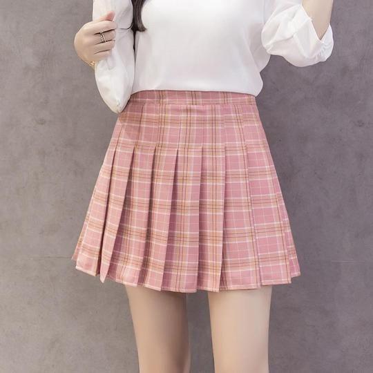 e6a5ef2e76 Women's Kawaii Plaid High Waist Pleated Student Skirts Harajuku A-Line –  eavengifts