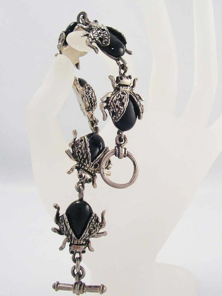 Vintage Sterling Silver Black Onyx Beetle Link Bug BRACELET ~Designer Quality~