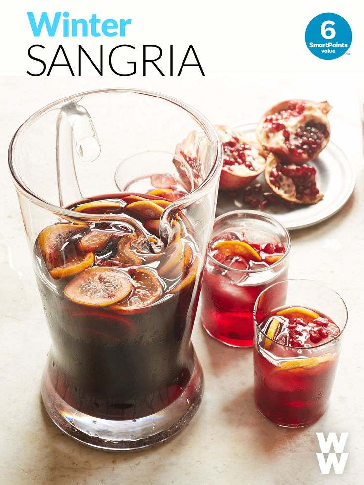This fruity winter sangria recipe is the perfect happy hour cocktail to start the new year. Tap to get the festive 6 SmartPoint recipe.