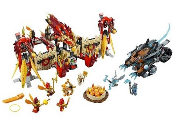 LEGO 70146 Chima Flying Phoenix Fire Temple. Check out our 4.76% promotion off retail price!  Enjoy a further $10 discount if you self collect your purchase! Delivery within Singapore. LEGO® is a trademark of The LEGO Group of companies. Chucklingbaby.com is independent of The LEGO Group. All the product images are copyright of The LEGO Group.