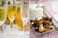 Tragos frutales, frutos secos y géneros coloridos para una mesa festiva relajada.