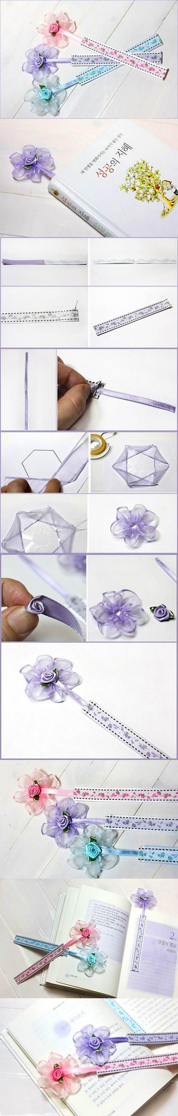 DIY Beautiful Ribbon Flower Bookmarks 2 http://www.icreativeideas.com/diy-beautiful-ribbon-flower-bookmarks/