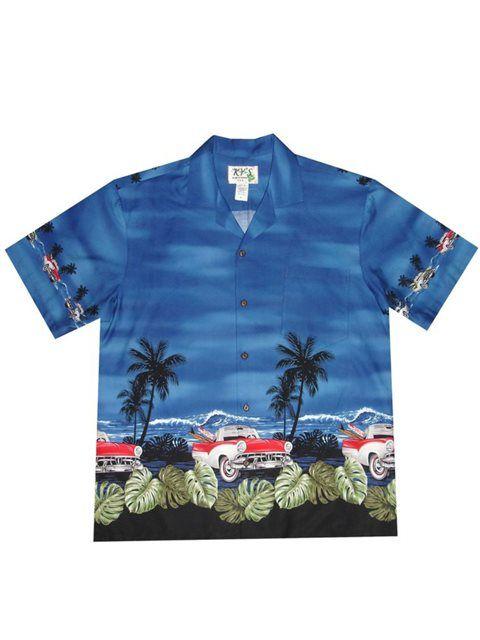 Classical Car Navy Blue Cotton Poplin Men's Hawaiian Shirt