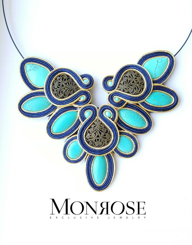 Soutache nacklace. Turquoise and gold.
