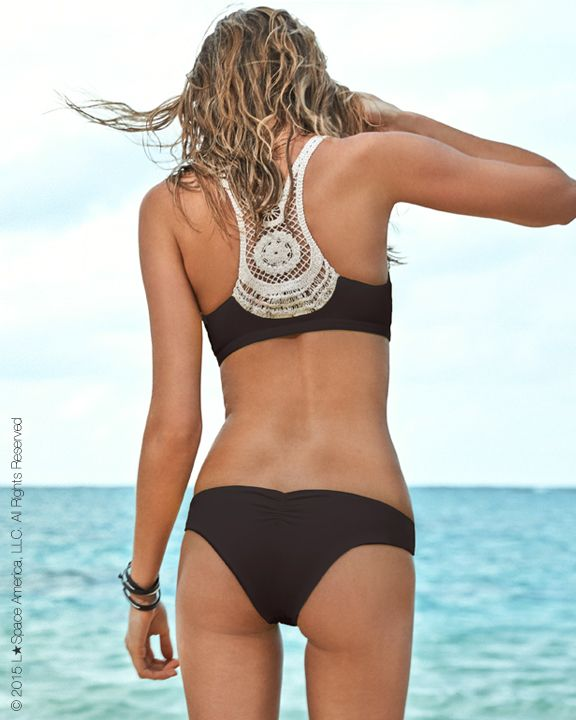 A sexy and sophisticated racerback top with a delicate, boho-chic lace back. Ruching down the front flatters and separates the bust while the sports-bra like fit provides superior hold and support. Best Suited for: A-D cup.