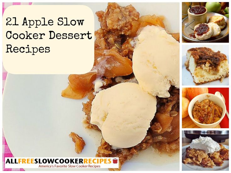 Enjoy fabulous apple slow cooker sweets throughout the fall and winter seasons with help from our collection, 21 Apple Slow Cooker Dessert Recipes. In this collection you'll find a variety slow cooker apple desserts to try, including slow cooker apple cakes, slow cooker apple pies, slow cooker apple butters, slow cooker apple crisp recipes, and more.