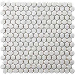 affordable penny tileFloors, White, Porcelain Mosaics, Pennies Mosaics, Wall Tile, Bathroom, Mosaic Tiles, Mosaics Tile, Laundry Room