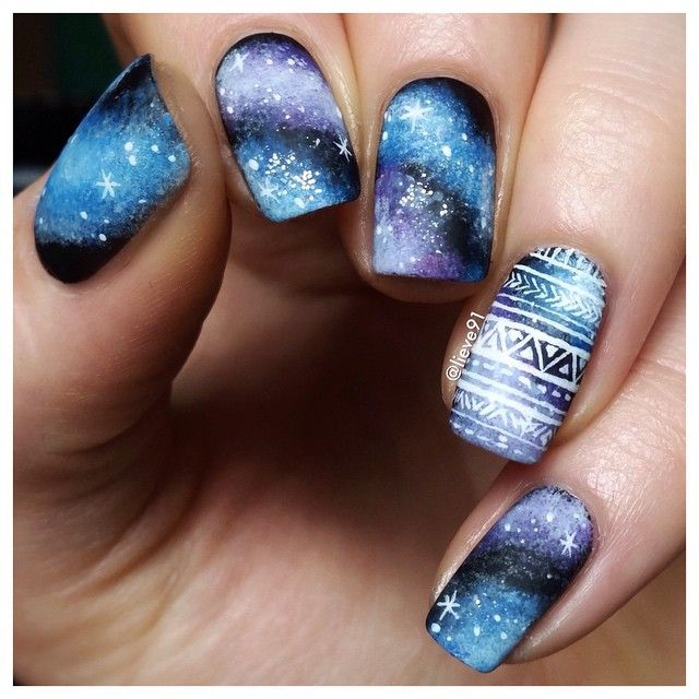 Matte galaxy nails. Matte top coat by @opi_products ☺️ The pattern on accent nail is hand drawn with acrylic paints. | #nailart #nail #nails #nailpolish #mani #manicure