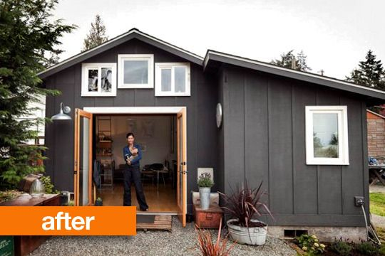 What can you do with a 250 square foot garage? Well, Seattle-based artist, designer, and welder Michelle de la Vega managed to turn it into a functional, practical, and adorable little house. Take a look at what she created! Exterior.
