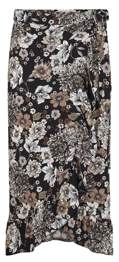 Slå om nederdel i Viscose med flæser. Find et gratis og meget nemt mønster på stof2000.dk. Følg moden i foråret 2018 og sy din egen slå om nederdel i lige det mønster du ønsker.