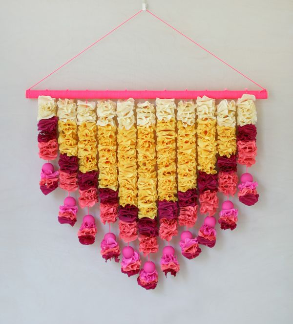 Great display idea -- DIY Crepe Paper Petals Wall Hanging | Oh Happy Day! #eventdecor #celebrate #decorations