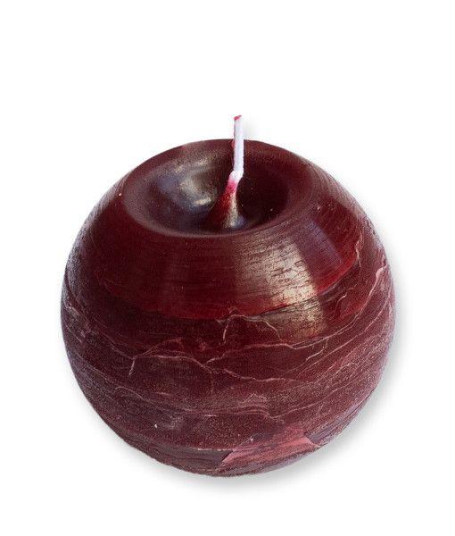 Rusztikus hatást keltő gömb alakú gyertya. Kiválóan alkalmas dekorációs célra, és az ünnepi hangulat megteremtésére. http://mecsesaruhaz.hu/termek/rusztikus-gomb-gyertya-bordo8cm/