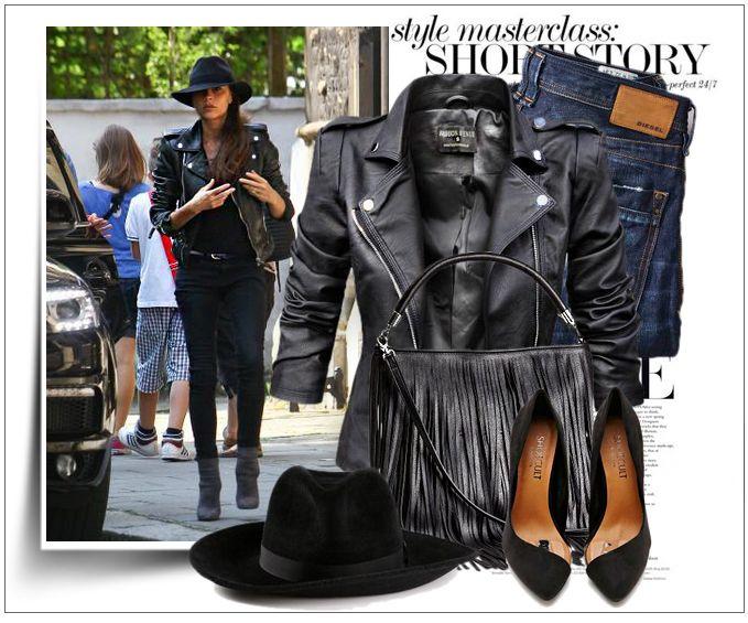 Stylizacja ekskluzywnej kurtki damskiej ramoneska klasyczna z pagonami skóra biker moto jacket model #73 w sklepie FASHIONAVENUE.PL
