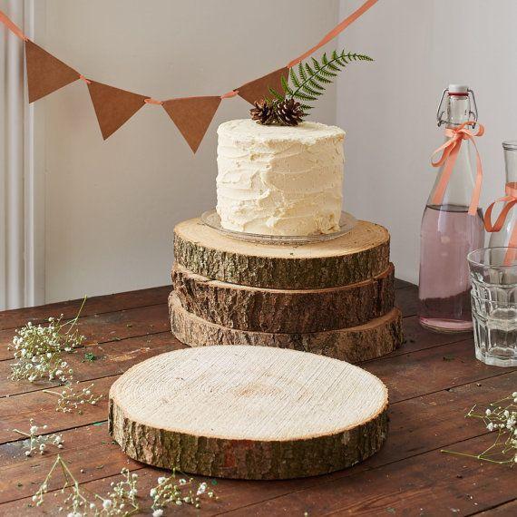 Ten Wooden Log Slices - Log Cake Stand - Log Centrepieces - Woodland Wedding…