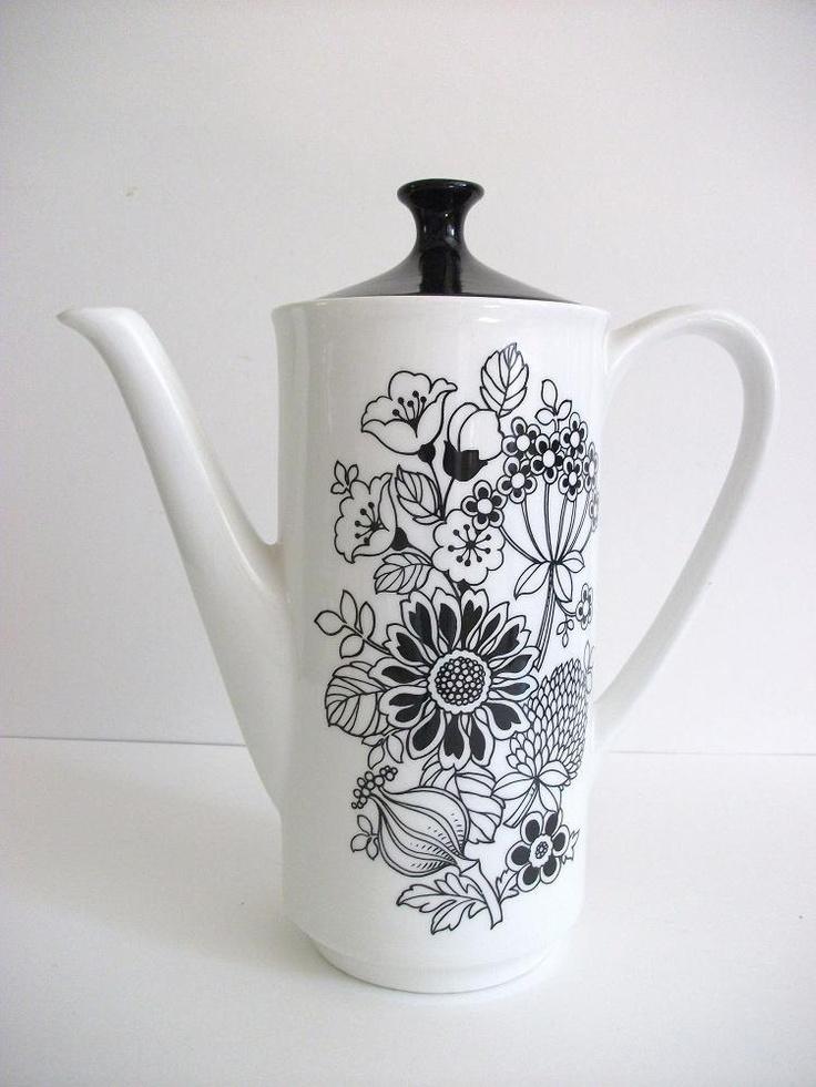 Vintage Black and White Floral Teapot. $30.00, via Etsy.