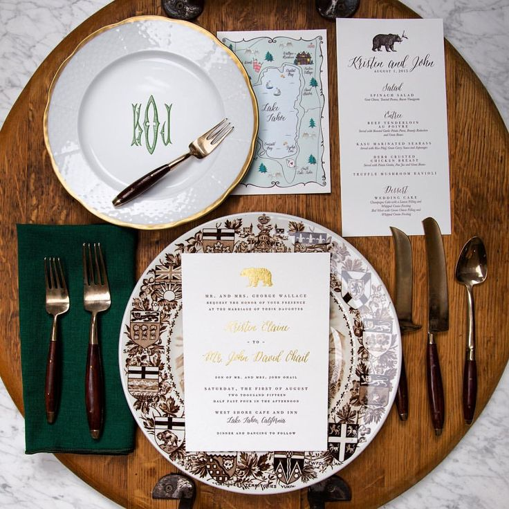 "Abigail Christine Barnett on Instagram: ""Custom monogrammed head table dish ware is becoming increasingly popular for weddings this year. Our custom wedding suite collection is shown here with this gorgeous gold rimmed plate from @sashanicholas. #customwedding #customwedding #custommonogram #goldfoil #weddings #weddinginvitation #acdweddings #watercolormap #abigailcdesign #abigailchristinedesign"""