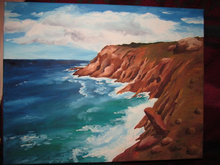 Garden Route coast... Oil on canvas, Katja Oct 2014 (donated to OHS)
