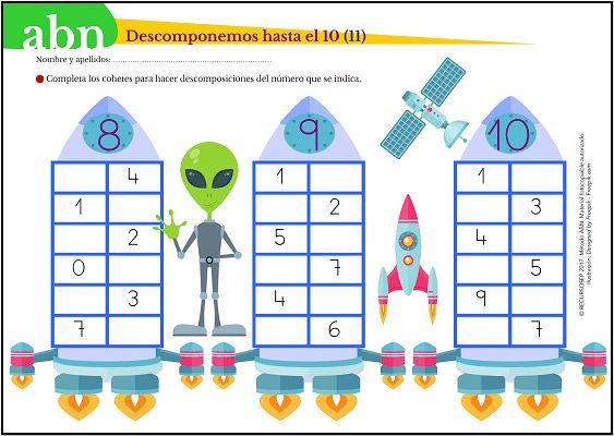 Seguimos ampliando el número de fichas donde se trabajan las descomposiciones de números hasta el 10. El perfeccionamiento de esta tarea hará que alumnado ejerza un buen desarrollo del cálculo ment…