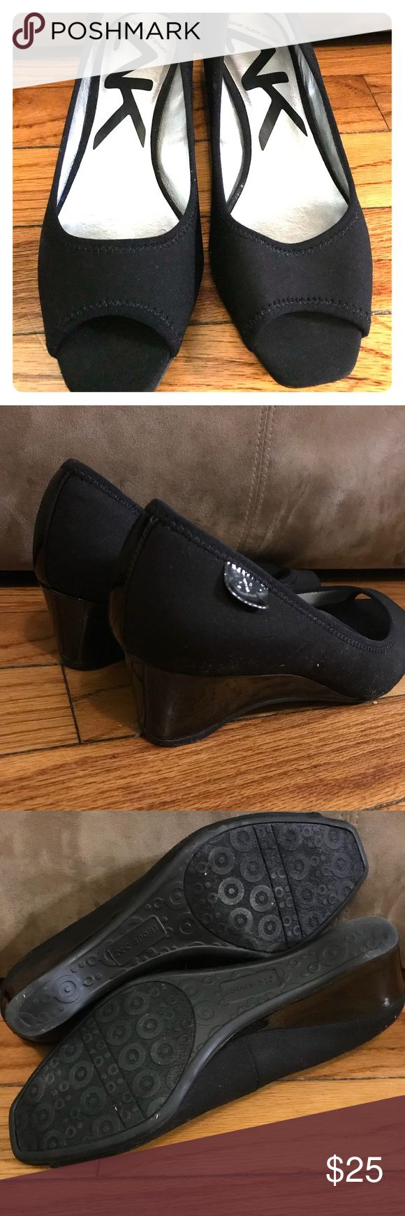 New-Anne Klein Sport Black peep toe wedge These were only tried on..I have too many shoes and these have just sat in my closet! My loss is your gain! Size 7  Anne Klein Sport Black peep toe wedge! 2in wedge! Anne Klein Sport Shoes Wedges