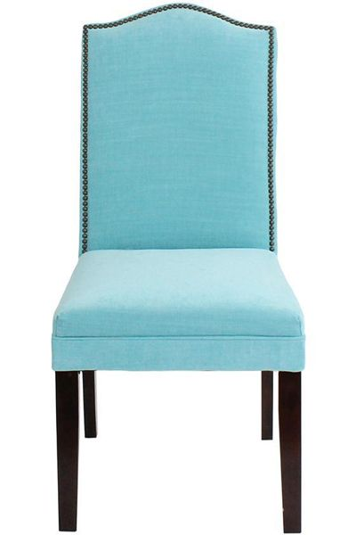 Camel Back Parsons Chair With Nailhead Trim