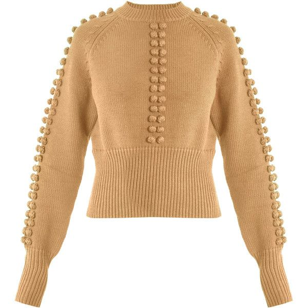 Chloé Pompom-embellished sweater featuring polyvore women's fashion clothing tops sweaters beige pom pom sweaters slim fit sweaters pom pom tops embellished top chloe top