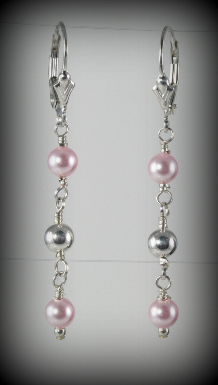 Pink Swarovski Pearls And Sterling Silver Earrings Available At My Etsy  Store