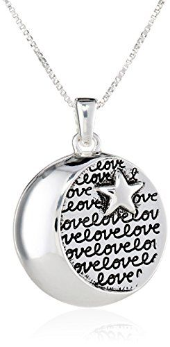 "Image result for Sterling Silver ""I Love You To The Moon and Back"" Circle with Star Pendant Necklace, 18"""