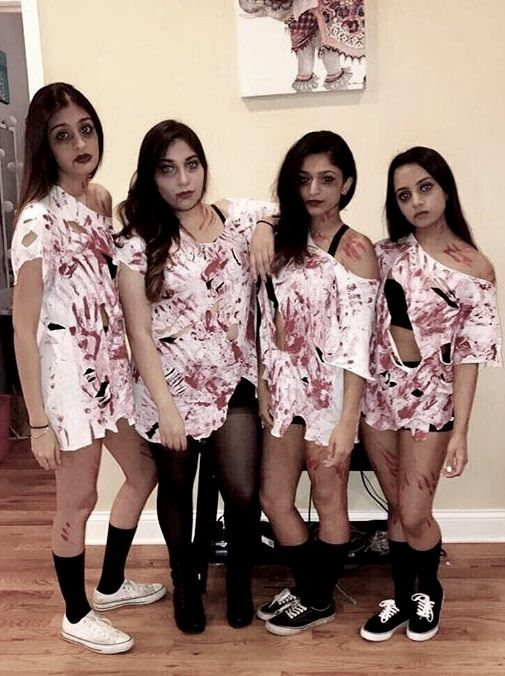 Bloody Zombie group Halloween costume women girls creative DIY easy college teen ideas scary makeup last minute friends hot clever Homemade bff cheap original matching