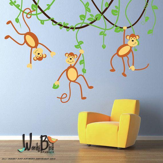Monkeys and Vines Decal Vinyl Wall Decal for by wordybirdstudios, $86.95