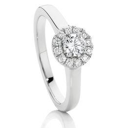 SJ0038 Platinum Cluster Diamond G/Si Engagement Ring / 0.24Ct Centre Stone Claw Set Tdw=0.50Ct