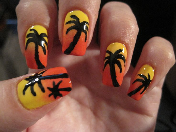 Palm trees at sunset. Inspired by SaraBeautyCorner.