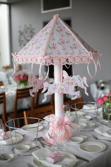 Pink Carousel Table Centerpiece