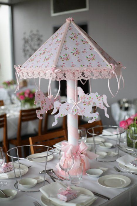 Pink Carousel Table Centerpiece
