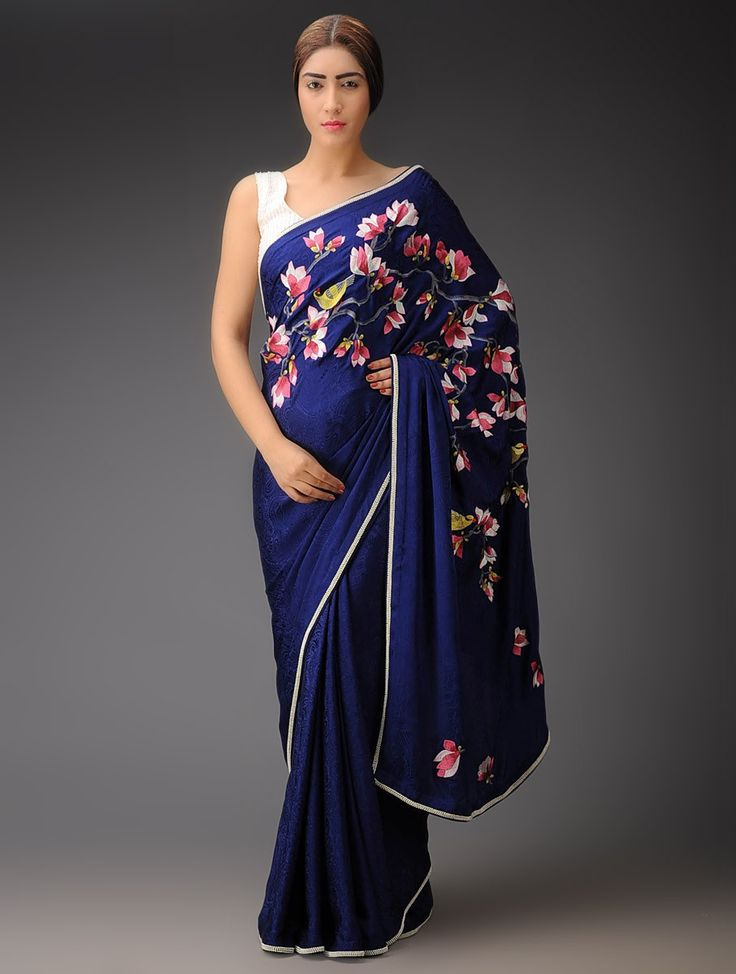 Buy Blue Multi Color Magnolia Pallu Crepe Jacquard Parsi Gara Saree Sarees Woven Navroz Jubilation Embroidered Blouses Apparel & Clutches Online at Jaypore.com