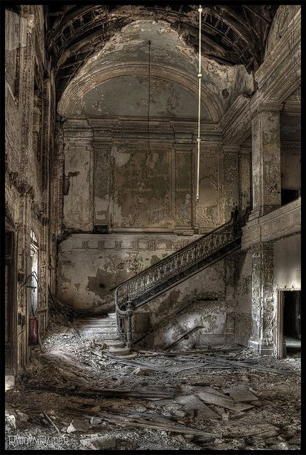 Stairway to Decay - Decaying foyer in an abandoned school for boys