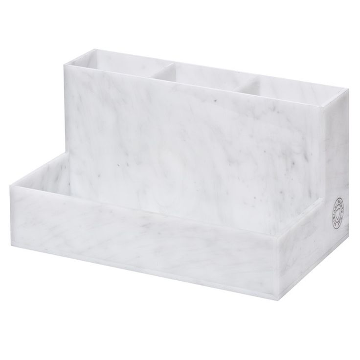 """Store your favorite brushes and smaller makeup items in our beautiful marble acrylic brush holder. Designed to look like Carrara marble, it adds an elegant touch to any counter space. DIMENSIONS: 7.5"""""""